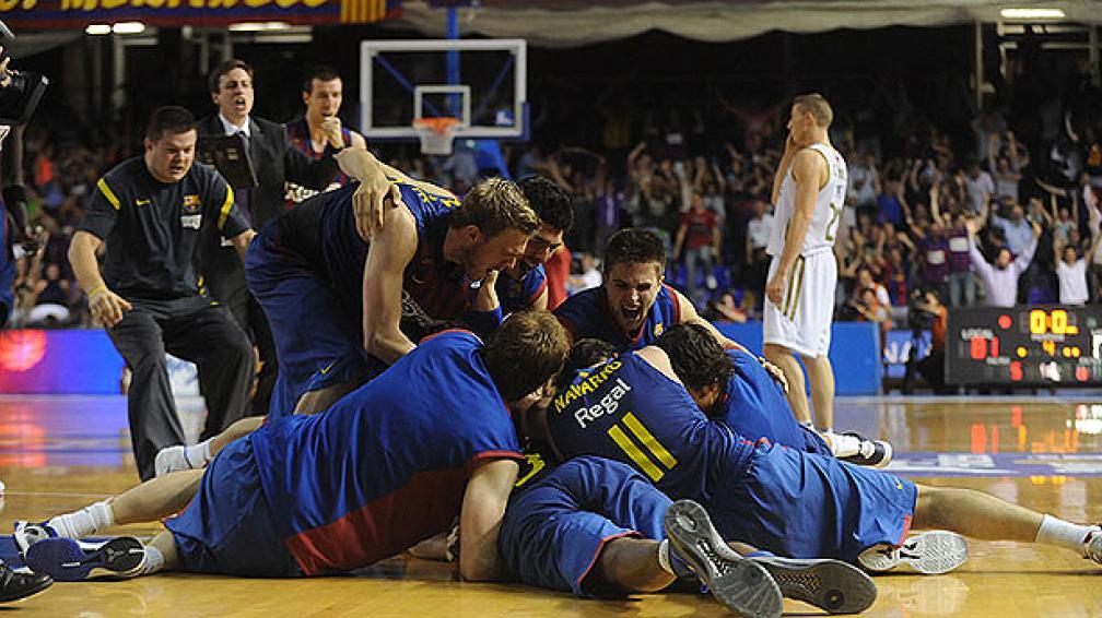 Tremendo triple de Marcelinho Huertas para darle la victoria al Barcelona. (Foto: ACB.com)