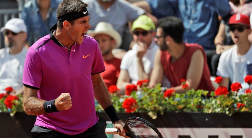 Del Potro no pudo con Djokovic y quedó fuera de Roma