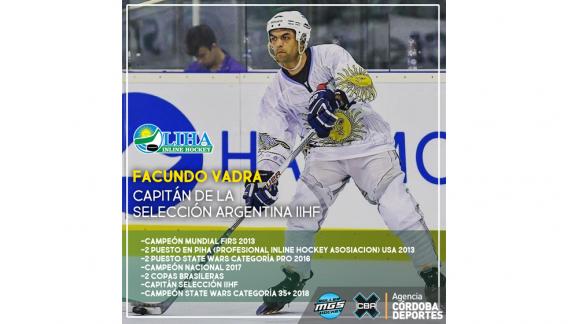 Facundo Vadra, capitán de la Selección Nacional de Roller Hockey.(CBAX)