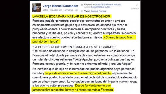 Captura de pantalla del Facebook del funcionario Santander.