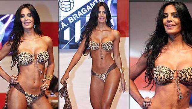 """Lorena Bueri, hincha del Bragantino, fue elegida como """"la Gata"""" de Brasil."""