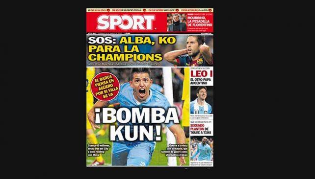 La tapa del diario Sport que sale el domingo.