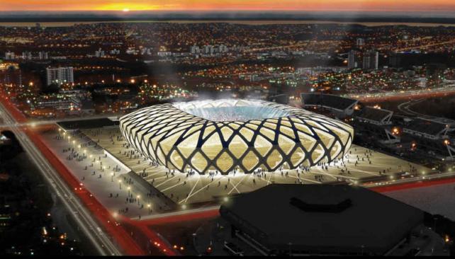 El estadio Arena de Manos es el que más al norte de Brasil está.
